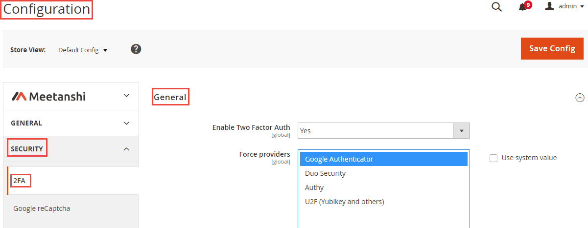 Enable Magento 2 two factor authentication