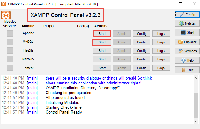 7_Start apache and MySQL service for XAMPP Control panel