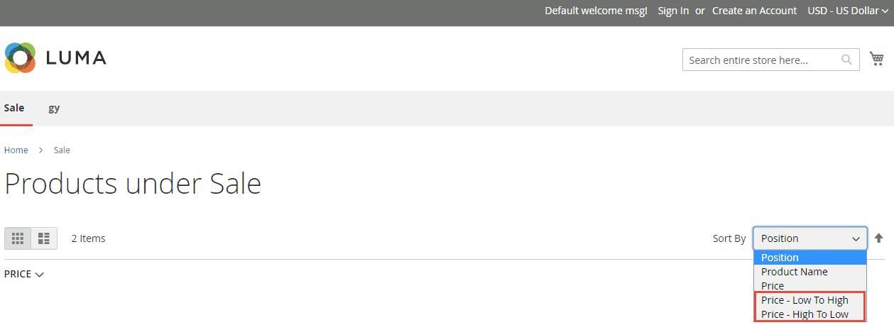 2_Custom Price Sorting Option