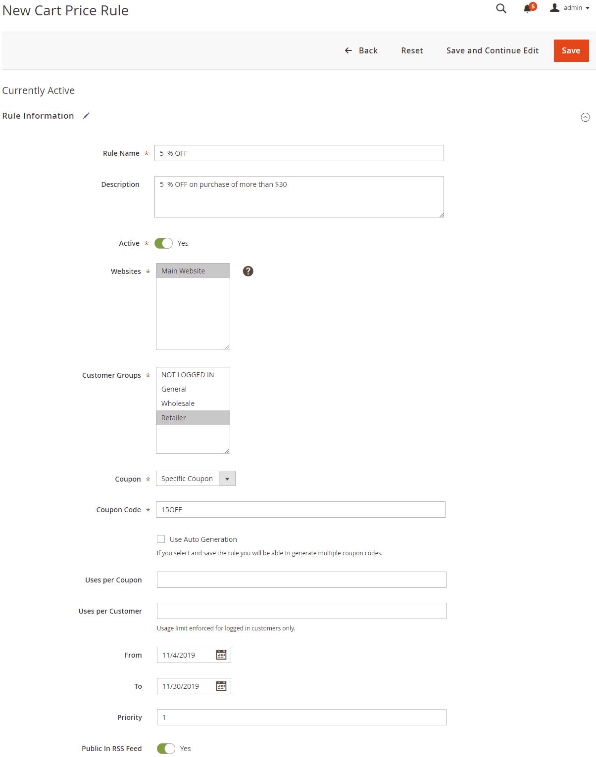Configure rule information