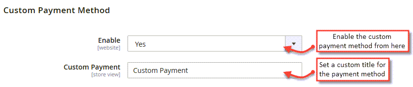 custom payment method creation