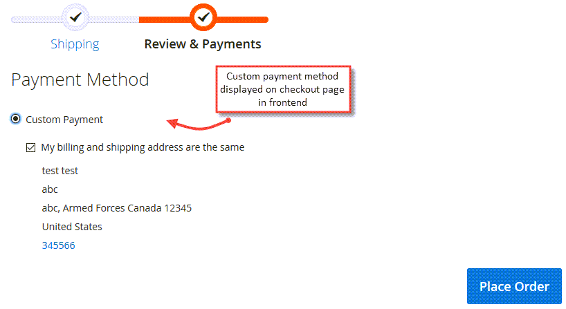 custom payment method on checkout page in frontend