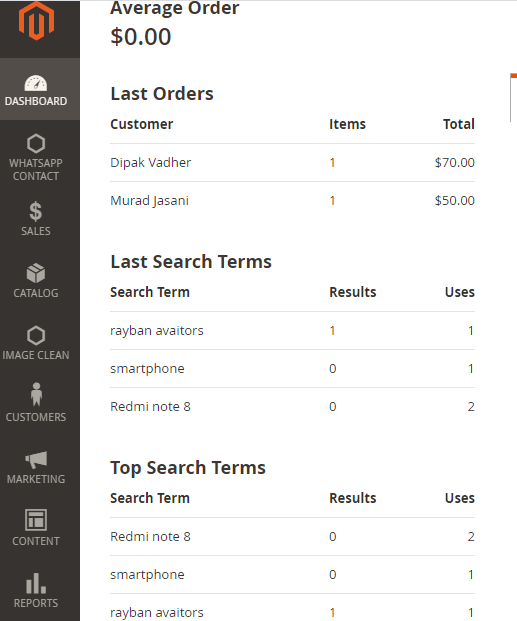 1_Dashboard - search_query Table In Magento 2