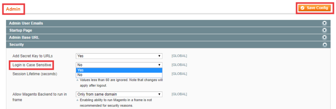 Method to change admin login to case sensitive in Magento