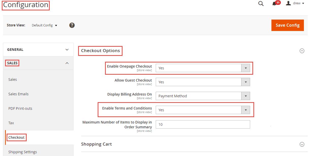 Checkout options