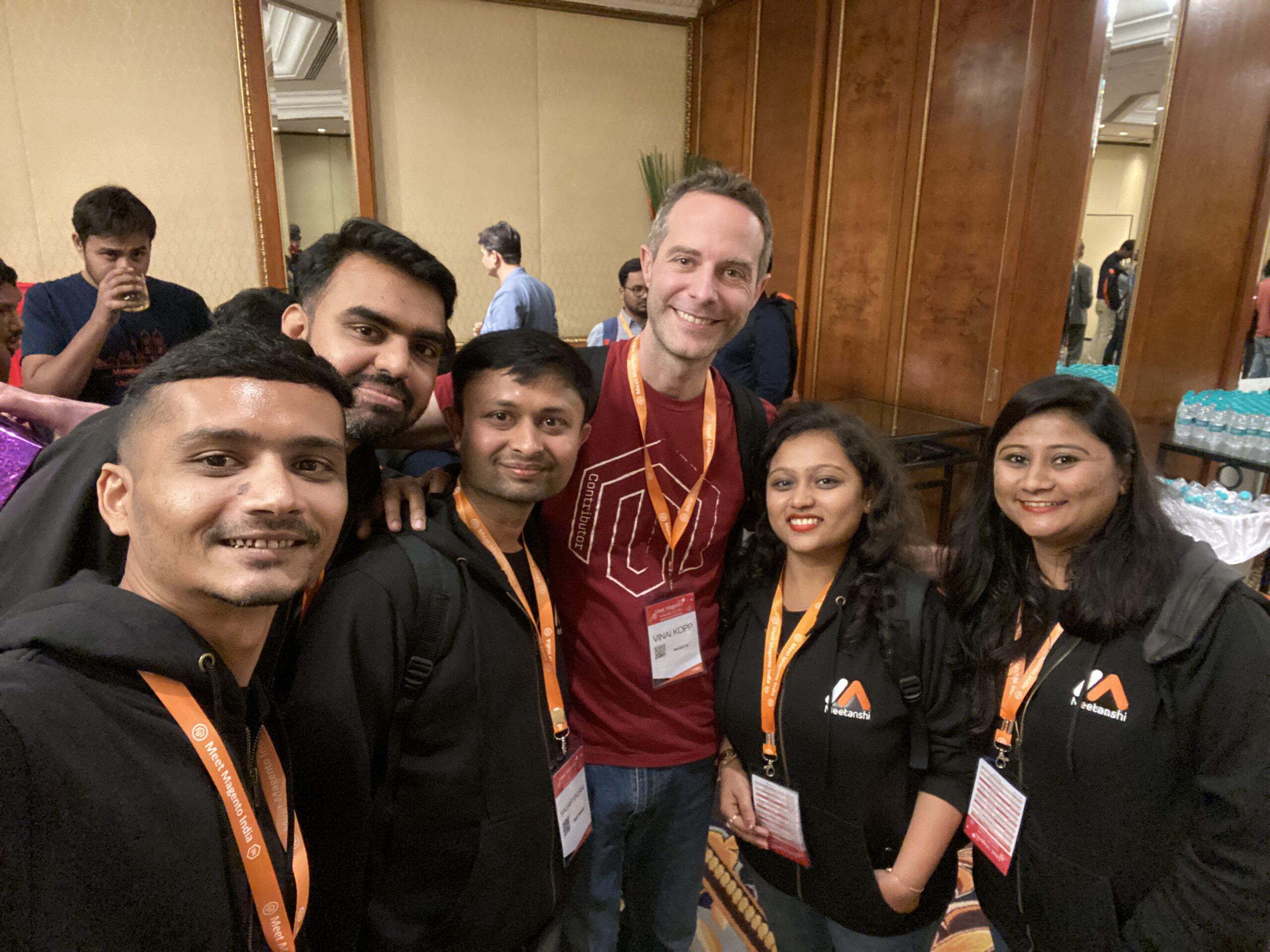 Team Meetanshi with Vinai Kopp at Meet Magento India 2020