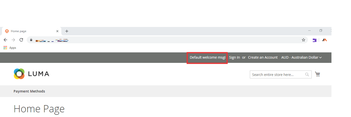 Default welcome message in Magento 2