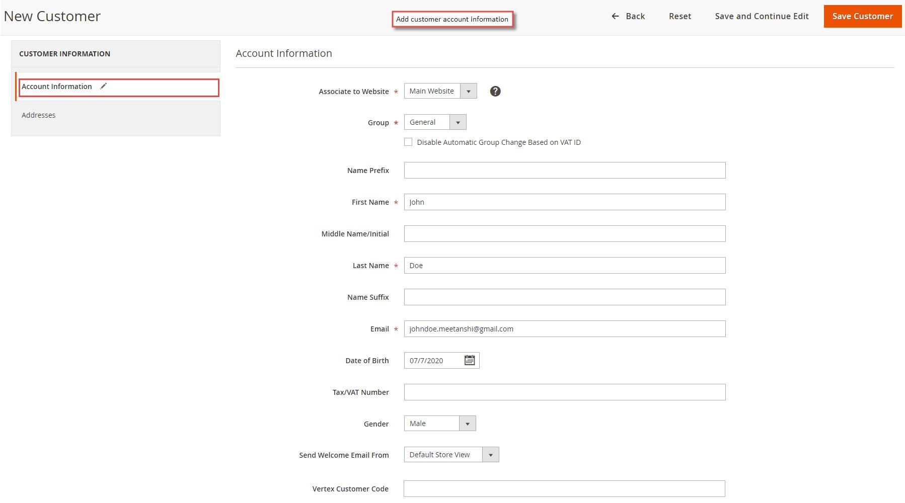 Add customer account information