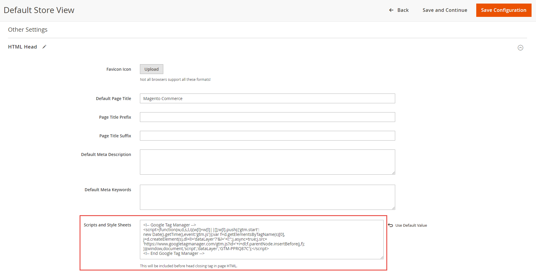 Paste GTM code under Magento 2 HTML head section