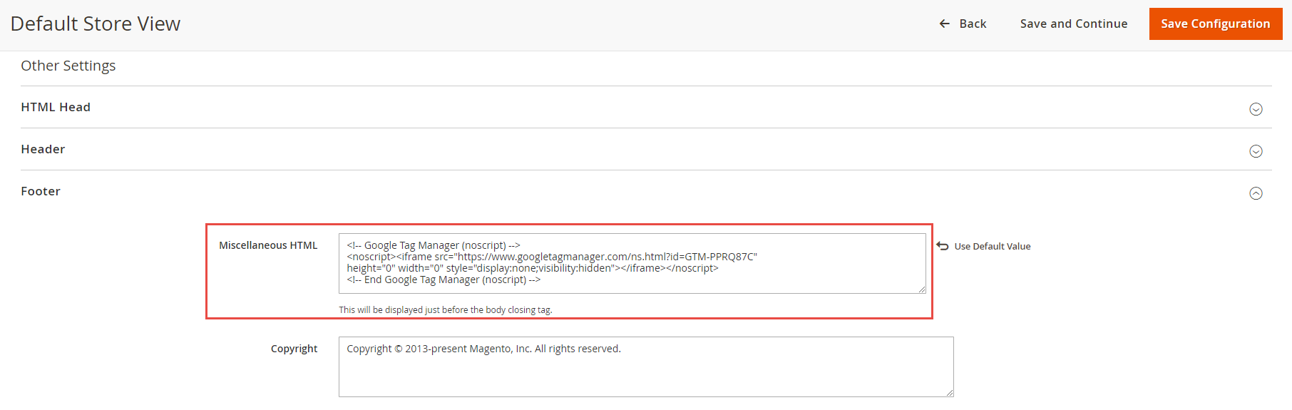 Paste GTM code in Magento Footer section