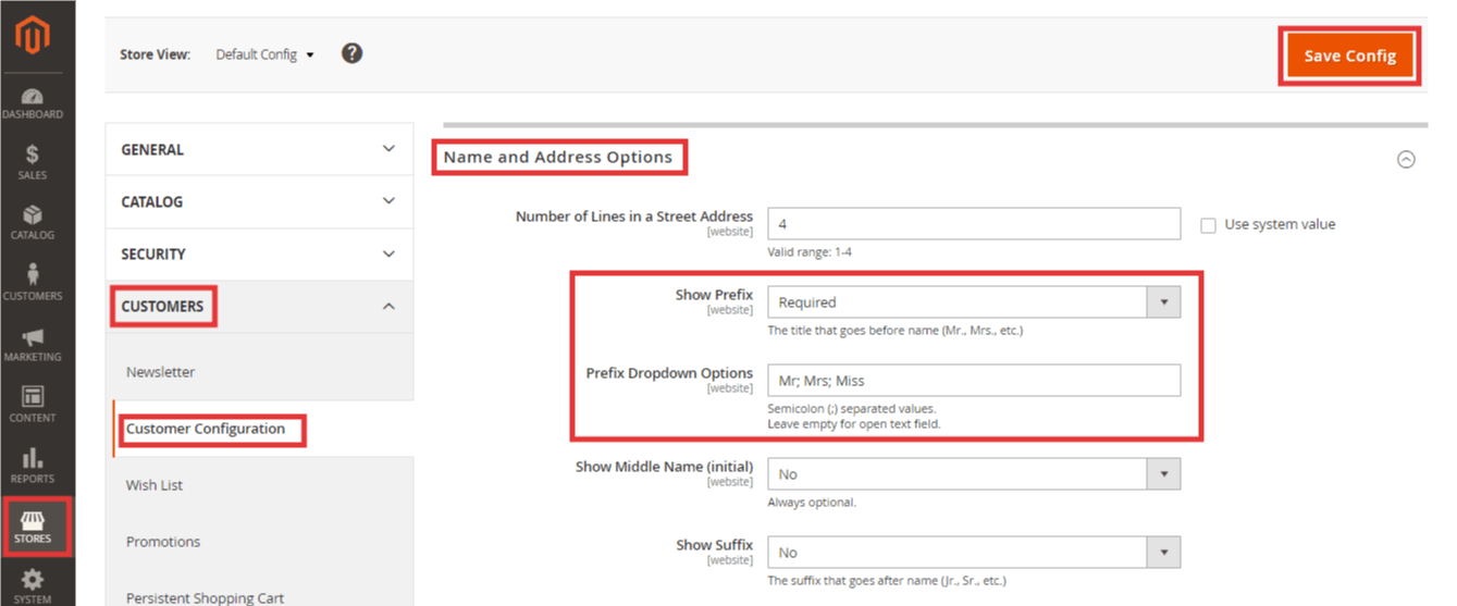 Enable or disable prefix in Magento 2