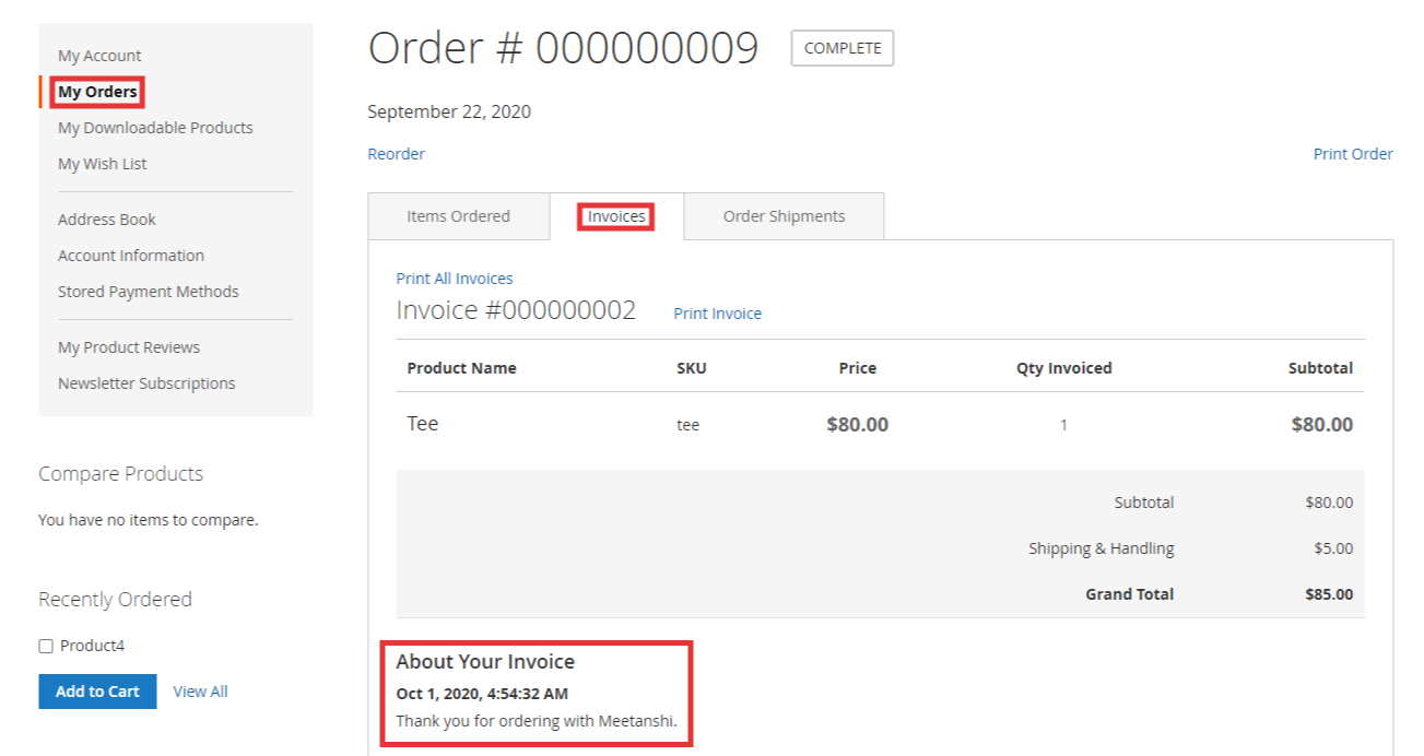 Magento 2 Invoice Comments