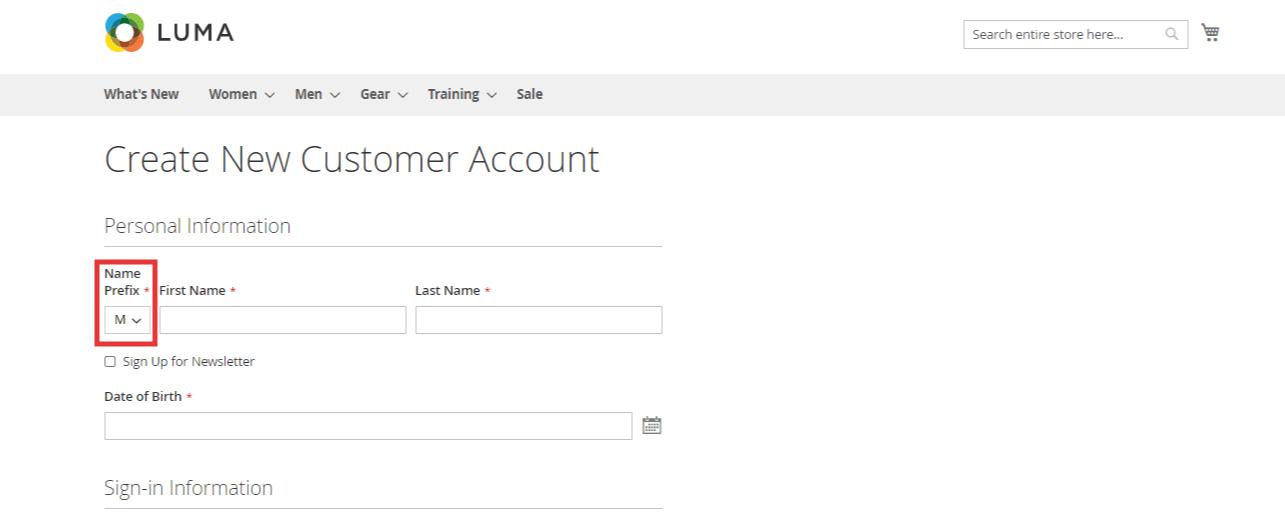 Prefix in registration Form