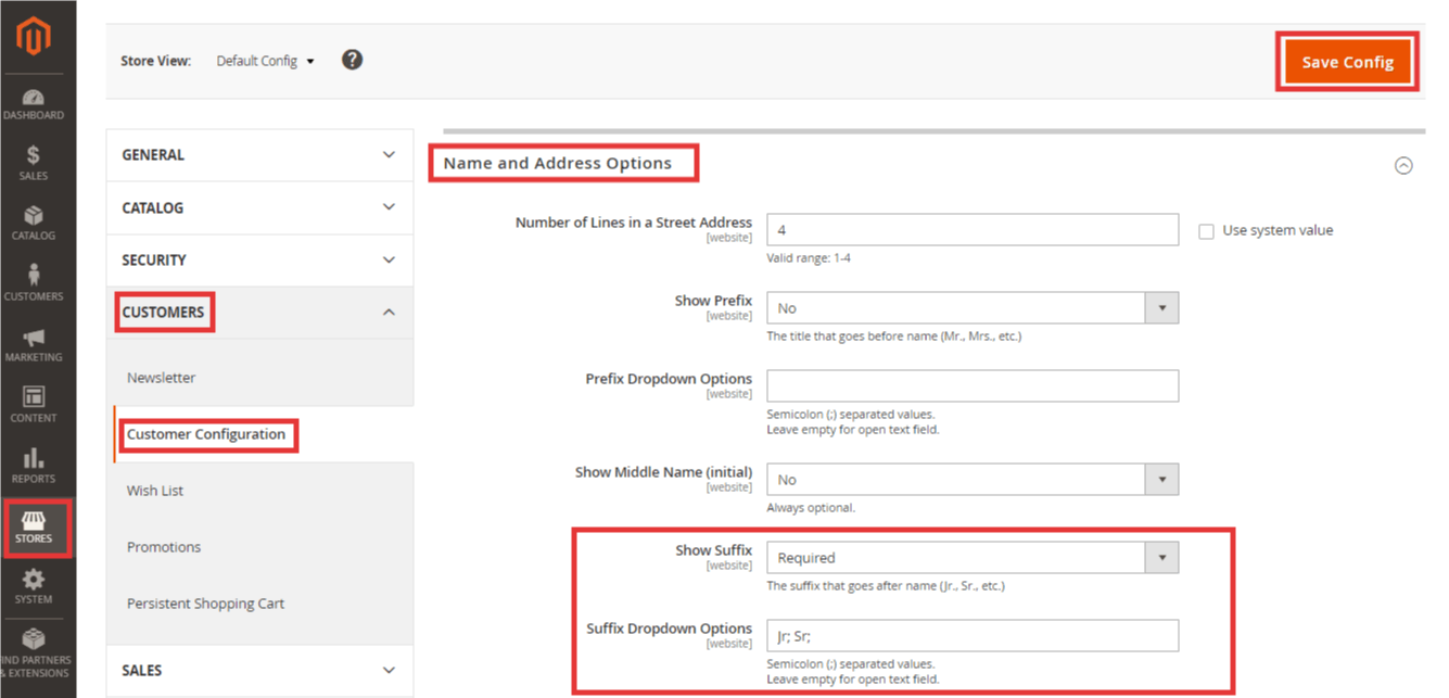 Steps to Show Suffix Field in Magento 2