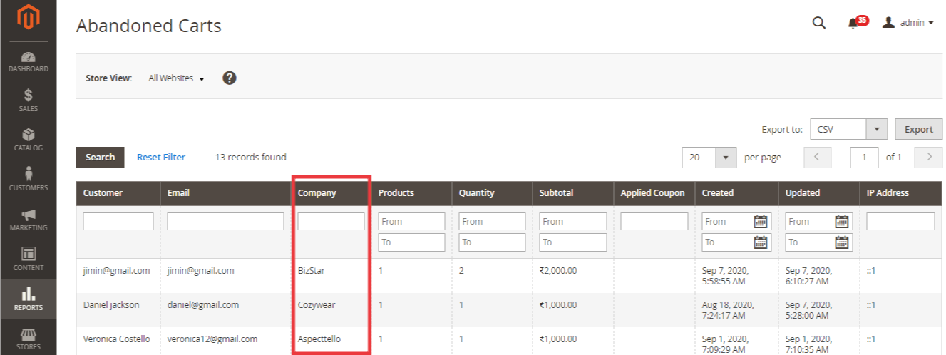 add company column in abandoned carts report in Magento 2