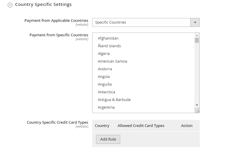 Country Specific Settings