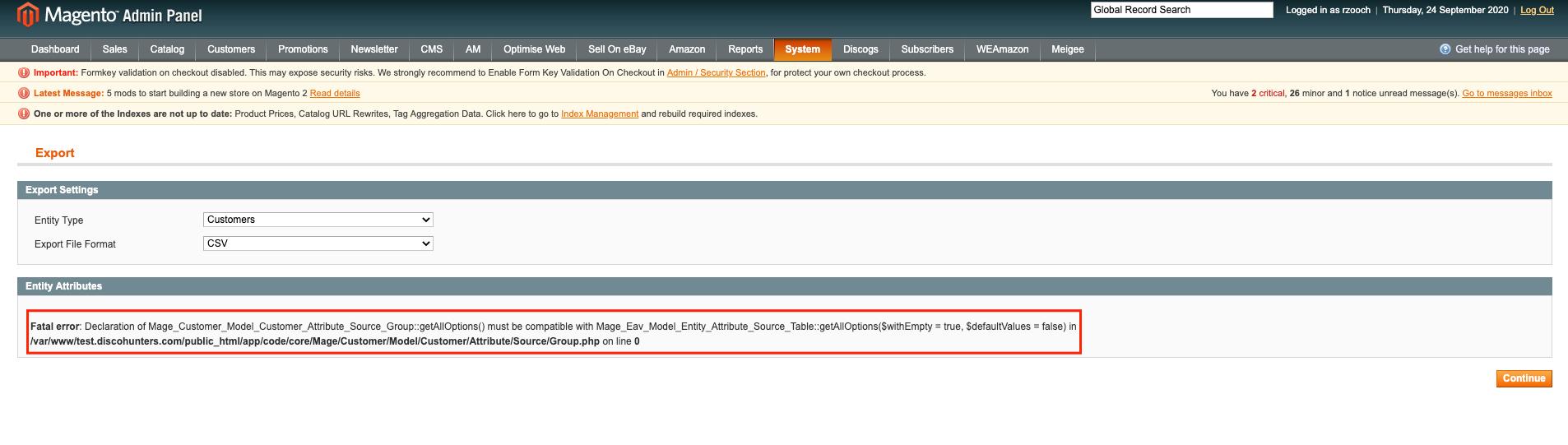 Magento 1 - PHP Fatal error: getAllOptions() on PHP7.2