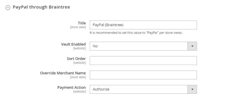 Paypal Settings via Braintree