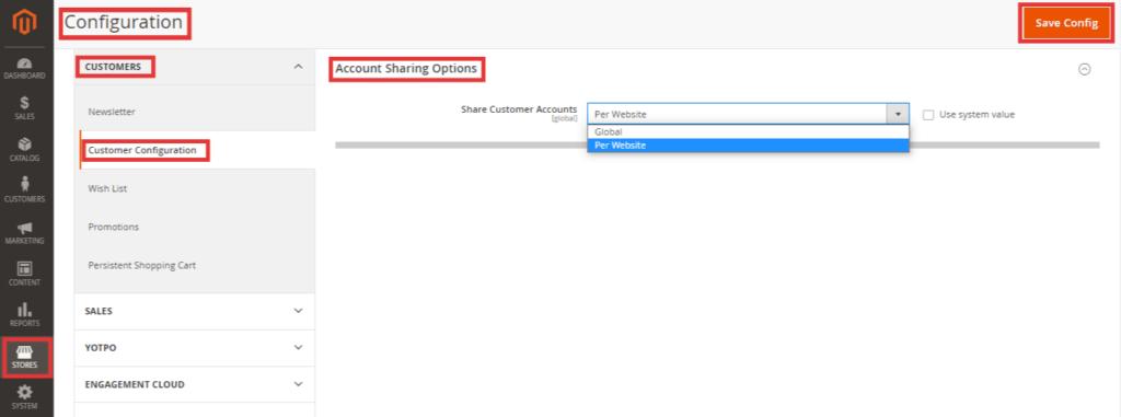 Configure Customer Account Scope in Magento 2