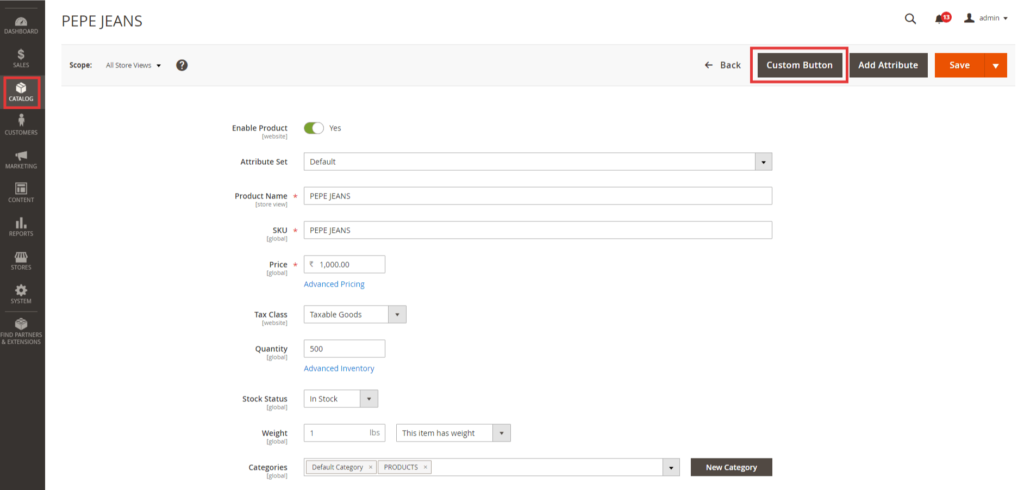 add a custom button in the admin product UI-component form