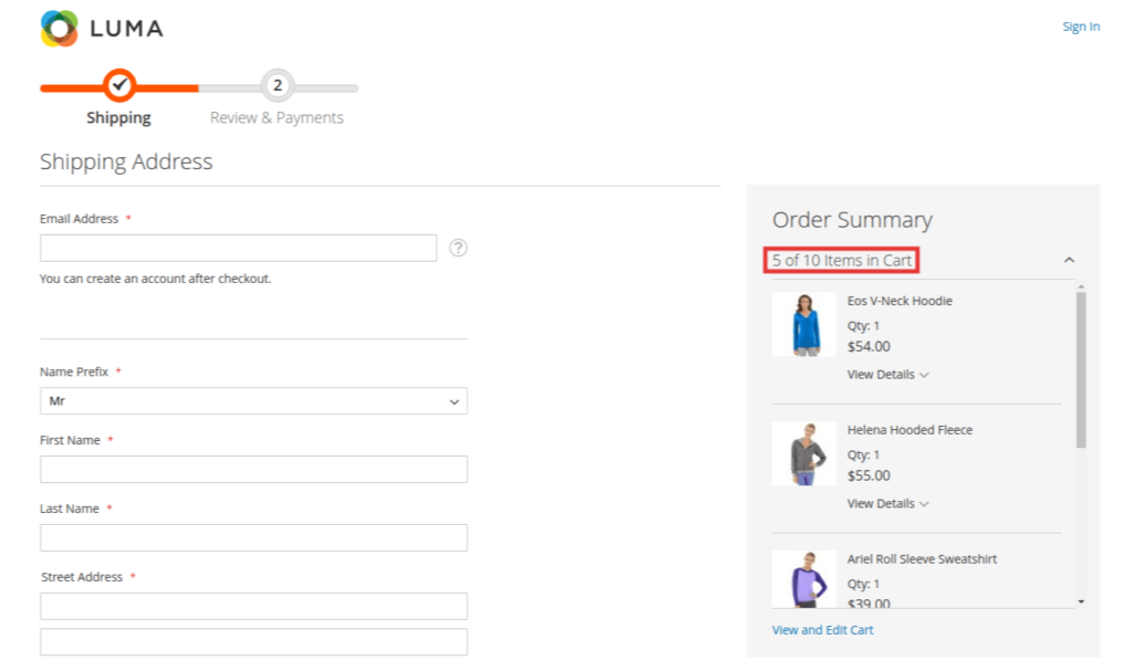 Change Maximum Number of Items to Display in Order Summary in Magento 2 Frontend