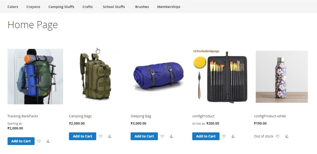 to display products on home page