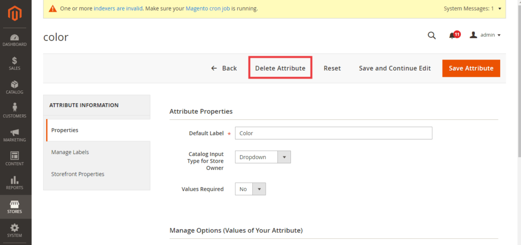 """How to Remove """"Delete Attribute"""" Option from Product Attribute in Magento 2 1"""