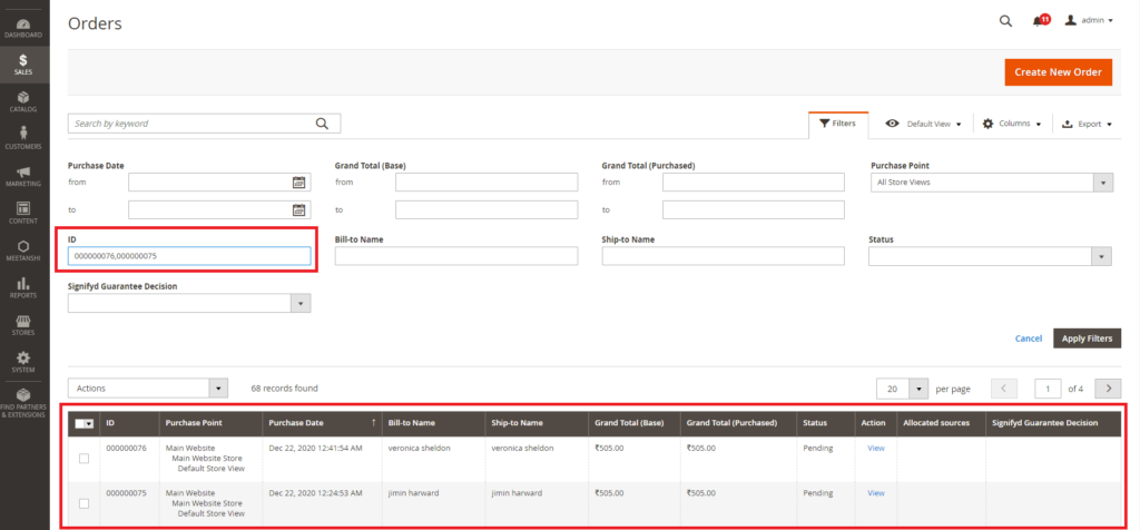 How to Filter Order Grid by Multiple Order IDs in Magento 2 2