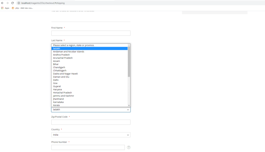 Add New Region for Specific Country in Magento 2