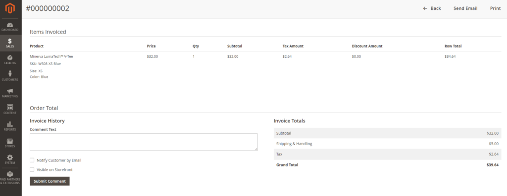 Default Invoice Total in Magento 2 Admin Panel