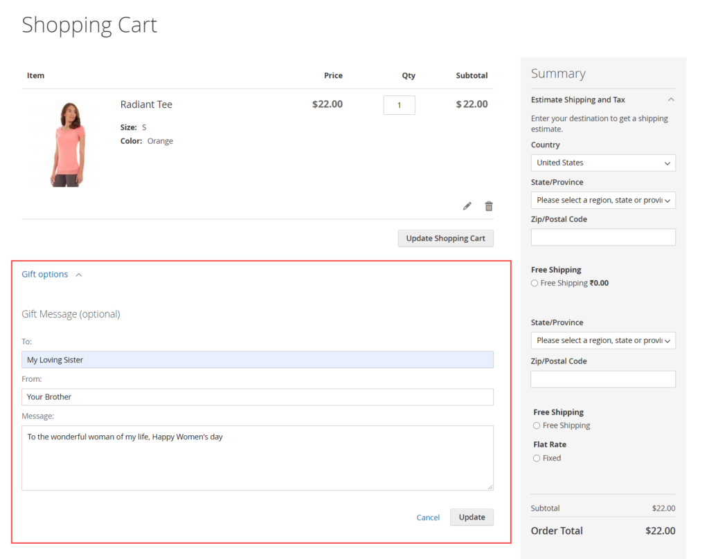 Enable Gift Message in Magento 2