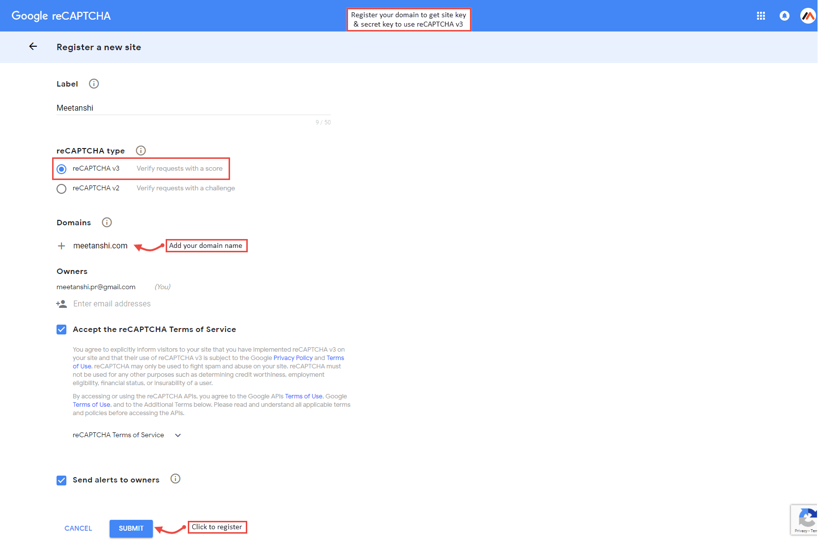 Google reCAPTCHA v3 Settings