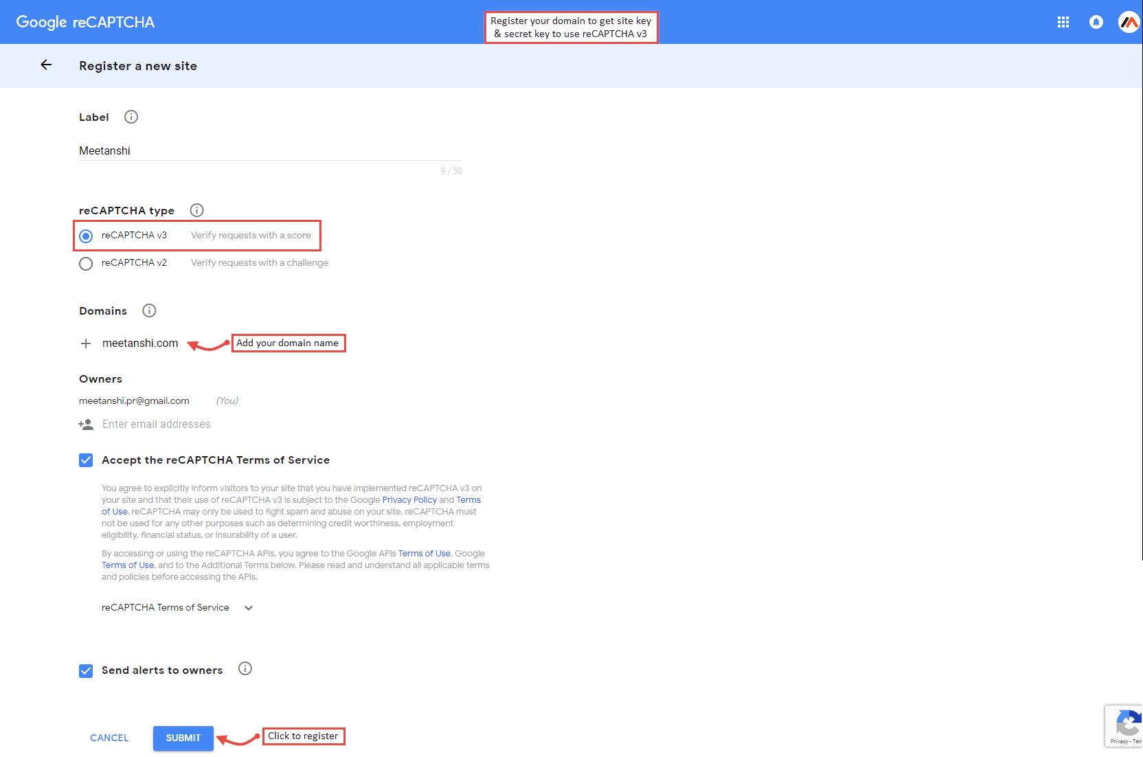 Get Google reCAPTCHA site key and secret key
