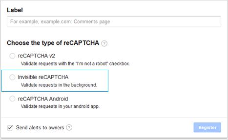 Google Invisible reCAPTCHA Settings